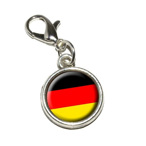 rman Germany Flag Antiqued Bracelet Pendant Zipper Pull Charm with Lobster Clasp ()