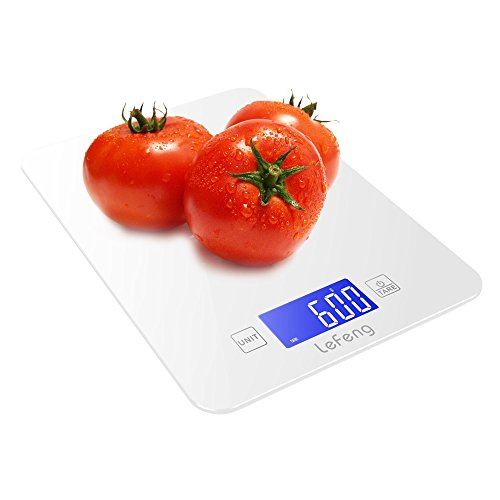 LeFeng Digital Kitchen Food Scale with Touch Screen, White Tempered Glass, High Precision (1 Gram) Cooking Scale for Baking, White ( Batteries Included )