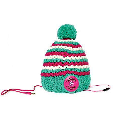 Earebel Green & Pink Striped Hand Knitted Bobble Hat Beanie with Built-In Pink AKG Headphones, Gotland by Earebel powered by AKG