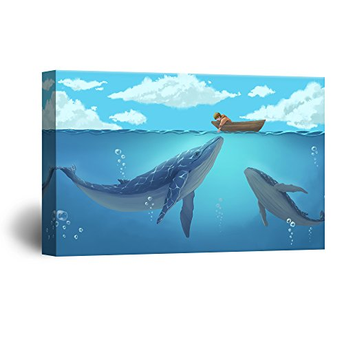 Hand Drawing Style Mystical Boy in the Boat on the Ocean with Blue Whales Gallery