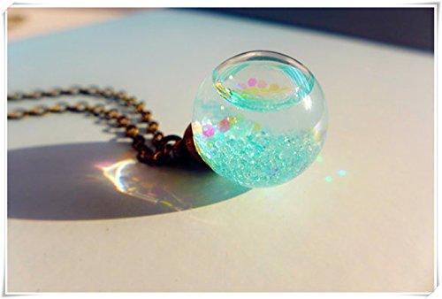 Glass Pendant Necklace, Water Drop Necklace,Glass Bubble Necklace, Sky Blue Necklace, Water Necklace, Blue Glitter Necklace (Sky Bubble Necklace Blue)