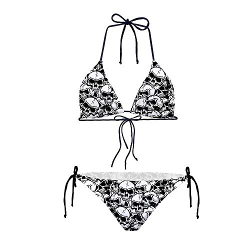 HUGS IDEA Skull Fashion Women Tie Side Bottom Push Up Padded Top Triangle Bikini Classic Black and White Bathing Suit