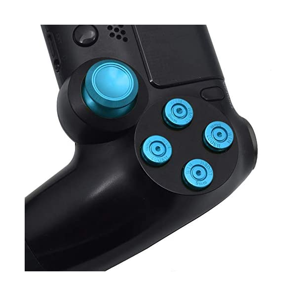 TOMSIN Metal Buttons for DualShock 4, Aluminum Metal Thumbsticks Analog Grip & Bullet Buttons & D-pad for PS4 Controller (Blue) 5