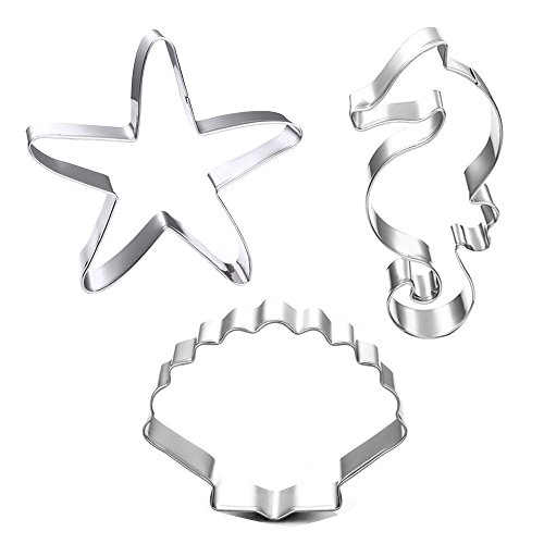 Winrase® Set of 3 DIY Stainless Steel Starfish Hippocampus Shell Shape Cookie Cutter Fondant Cutter