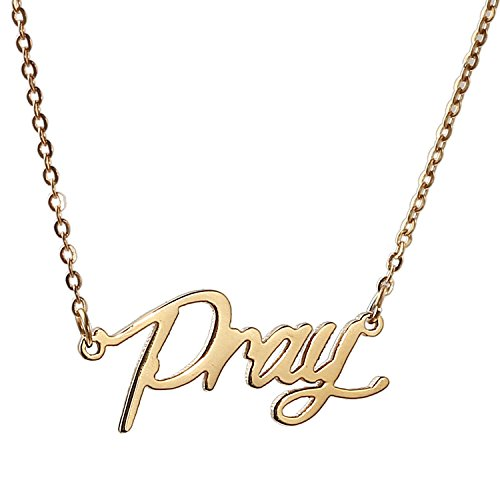 HUAN XUN Gold Color Plated Stainless Steel Name Celebrity Necklace Best Wishes Faithful Jewelry, Pray (Best Wife In Islam)