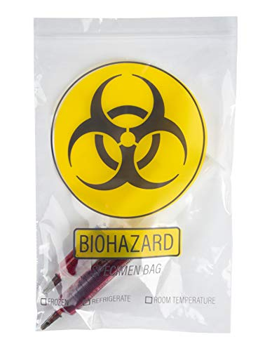 (Specimen Bags - 100-Pack Biohazard Bags - Durable Hazardous Waste Hazmat Bags for Specimen Collection and Waste, Clear, 9.1 x 5.9 Inches)
