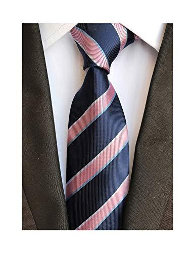 (Secdtie Men's Classic Stripe Jacquard Woven Silk Tie Formal Party Suit Necktie (One Size, Pink)