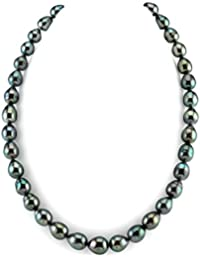"14K Gold AAA Quality Dark Tahitian South Sea Baroque Cultured Pearl Necklace for Women in 18"" Princess Length"