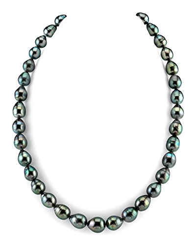 THE PEARL SOURCE 14K Gold 8-10mm Baroque Genuine Black Tahitian South Sea Cultured Pearl Necklace in 18