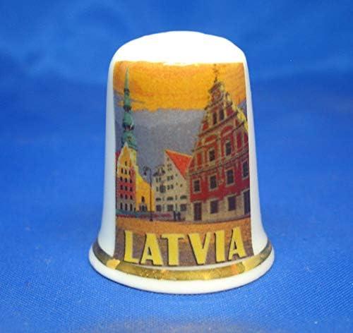 Birchcroft Porzellan-Fingerhut zum Sammeln gratis Box Reiseposter Lettland