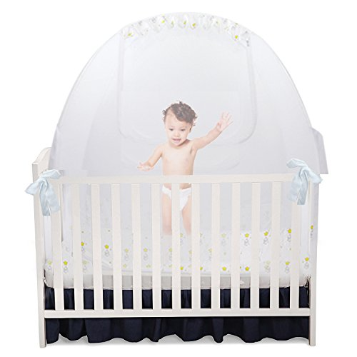 Baby Crib Pop Up Tent: Infant Bed Safety Canopy Cover & Mosquito Net for Nursery by Nahbou Baby