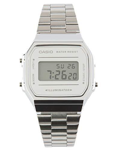 Casio Vintage A168WEM-1 Silver & Black Watch, Silver