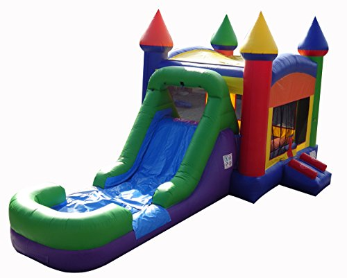 Rainbow Bounce House (Rainbow Wet/Dry Bounce House with Slide and Climbing Wall Combo, Commercial Grade Inflatable, Blower Included)