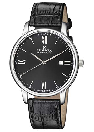 Charmex of Switzerland Charmex Amalfi Luxury Swiss Made Men's Watch Sapphire Crystal Black Leather Strap 42mm Stainless Steel Case CX-3017