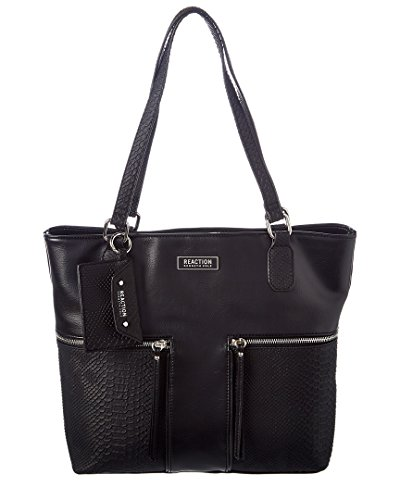 Kenneth Cole Reaction Womens Gina Faux Leather Tote Handbag Black Large