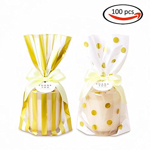 KIYOOMY Gold Polka Dot Cookie Bags 100 Pcs Cello/Cellophane Bags Party Favor Printed Bags for Wedding Shower Kid's Birthday (Wedding Cello Bags)