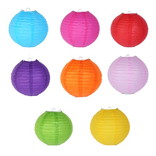 8 Inch Paper Lanterns - Set of 8 - Assorted Color