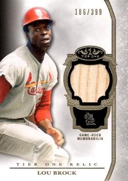 Card Lou Brock Baseball (2013 Topps Tier One Relics #TOR-LB Lou Brock Game Used Bat Baseball Card - Only 399 made!)