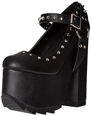 Demonia Women's Cra02/Bvl Platform Pump, Black Vegan Leather, 6 M US