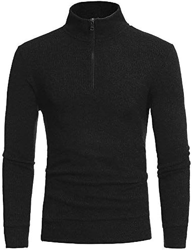 Męski sweter dziergany gruby sweter Troyer ze stÓjką wysokiej jakości bluza wygodny rozmiar z suwakiem ubranie: Odzież
