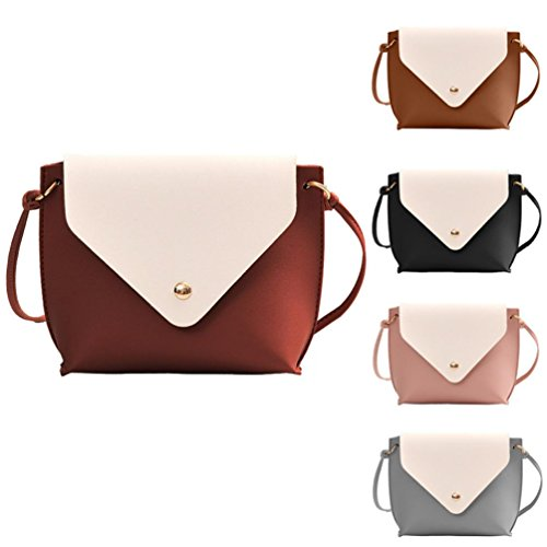 Brown Bag Bag Tote Color Women Fashion Messenger Satchel Crossbody Black Hit Leather Shoulder Bag School 45w77qxfO