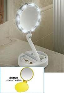 Lighted Bright Leds Foldaway Portable Vanity Mirror 12x Mag + BONUS Compact Mirror