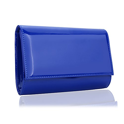 Women Patent Leather Wallets Fashion Clutch Purses,WALLYN'S Evening Bag Handbag Solid Color( New royalblue)