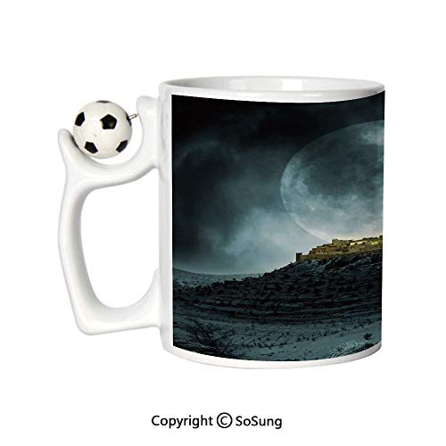 Night Sky Sports Football Mug,Big Full Moon over a Fantasy Castle on Hill Clouds Rocks Valley View Ceramic Coffee Cup,Green Black Slate Blue,Great Novelty Gift for Kids & Audlt
