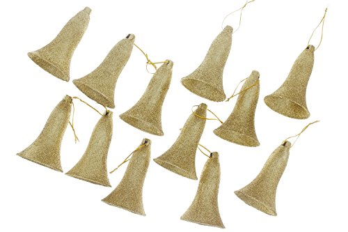 Elegant Traditional Christmas Holiday Shimmering Sparkling Bell Ornaments, Gold, Medium, Pack of 12, 4