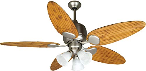 Craftmade K10707 Kona Bay Ceiling Fan with Tropic Isle Oak Bamboo Blades and Alabaster Swirl Light Kit, Brushed Satin Nickel, 54
