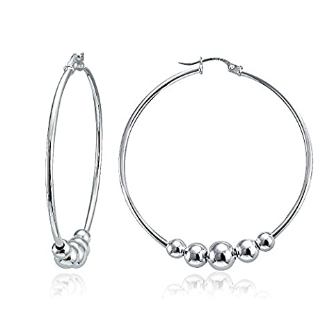 Sterling Silver Polished and Hammered Beads Round Hoop Earrings (1 3/4 Inch) - Hammered Round Hoop