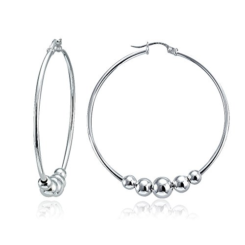 Hammered Round Hoop (Sterling Silver Polished and Hammered Beads Round Hoop Earrings (1 3/4 Inch))