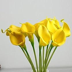 Lily Artificial Flowers,Orangeskycn 10Pcs Mini Artificial Calla Wedding Flowers Bouquet Calla Lily Foam Decor (yellow)