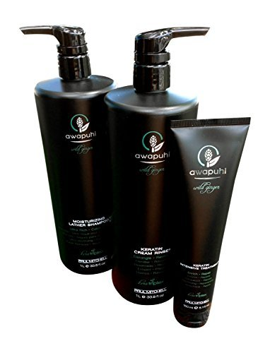 Paul Mitchell Awapuhi Wild Ginger Moisturizing Shampoo Liter, Keratin Cream Rinse Liter & Intensive Treatment Trio by Paul Mitchell