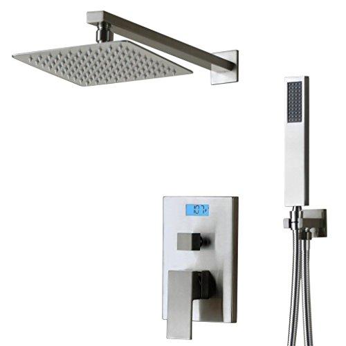 SUMERAIN Concealed Square Digital Display Shower Set 2 Way Chrome Handset&Fixed Rain Shower&Shower Kits Brushed Nickel