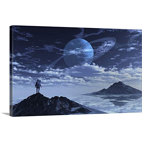GREATBIGCANVAS Gallery-Wrapped Canvas Entitled an Astronaut Exploring an Alien Moon That orbits a Ringed Planet. by 48