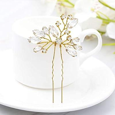 Unicra Wedding Bridal Rhinestone Hair Pins Decorative Bridal Hair Accessories for Brides and Bridesmaids Pack of 3