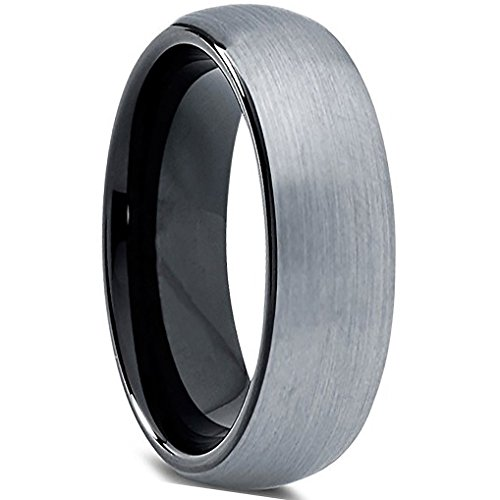 EnvyJ] 6mm Tungsten Rings Carbide Enamel Domed Round Brushed Two Tone Men's Women Wedding Band Ring Comfort Fit...