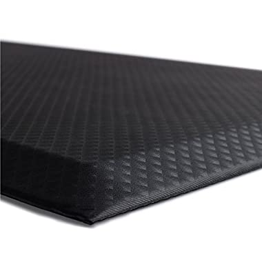 The Original 3/4  KANGAROO (TM) Non-Slip Anti-Fatigue Comfort Mat, Ergonomically Engineered, Non-Toxic, Waterproof, 70x24 inches (Black)