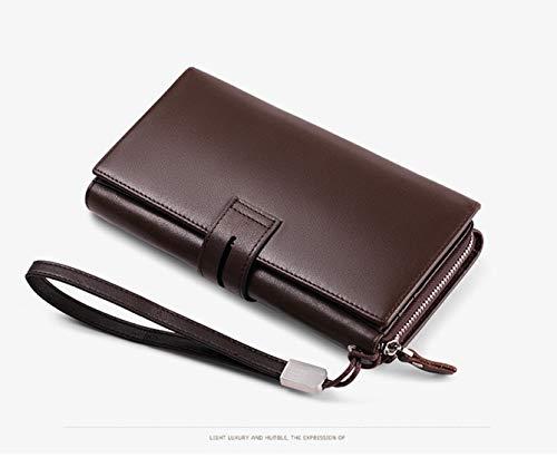 Magai Brown 3 Pieghe Nero color Multi Da Lungo Uomo In Portafoglio Brown carta Pelle SFqrwSO