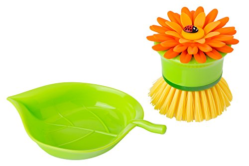 Vigar Flower Power Orange Palm Dish Brush With Holder, 5-3/4-Inches by 3-3/4-Inches, Yellow, Green, Orange