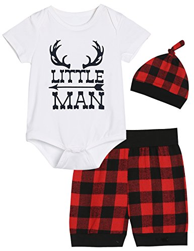 Red Plaid Pattern - Baby Boys Girls 3PCS Outfit Sets Antlers Pattern Little Man Print Red Plaid Shorts Set with Hat (0-3 Months)