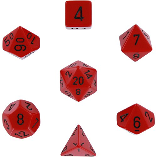 Polyhedral 7-Die Opaque Dice Set - Red with Black - Chessex Rpg Dice Sets