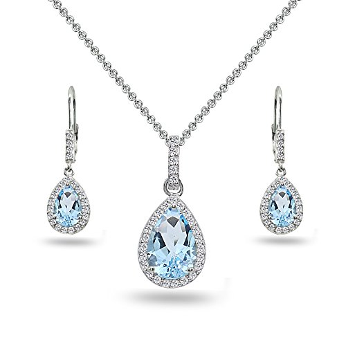 (Sterling Silver Blue & White Topaz Teardrop Halo Dangling Necklace & Leverback Earrings)