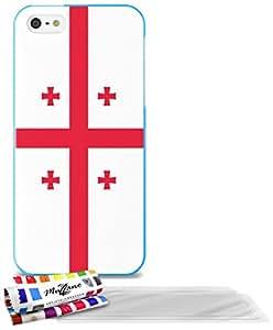 """Carcasa Flexible Ultra-Slim APPLE IPHONE 5S / IPHONE SE de exclusivo motivo [Bandera Georgia] [Azul] de MUZZANO  + 3 Pelliculas de Pantalla """"UltraClear"""" + ESTILETE y PAÑO MUZZANO REGALADOS - La Protección Antigolpes ULTIMA, ELEGANTE Y DURADERA para su APPLE IPHONE 5S / IPHONE SE"""