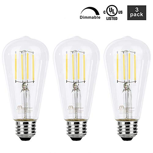 Mastery Mart Vintage LED Light Bulb, Clear Glass ST21 Antique Edison Bulb, Dimmable 5.5W (60W Equivalent), 500LM 5000K Daylight White, E26 Base Decorative Filament Bulbs, UL Listed, 3 Pack - Light Pendant Halogen Eight Ceiling