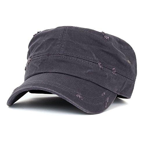 ililily Distressed Cotton Cadet Cap with Adjustable Strap Army Style Hat (cadet_527_2) Dark Grey