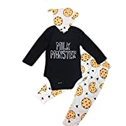 Efaster Baby Lovely MILK MONSTER Letter Romper Fruit Pineapple Pants Hat Outfits (3M)