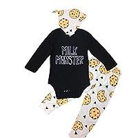 Efaster Baby Lovely MILK MONSTER Letter Romper Fruit Pineapple Pants Hat Outf...