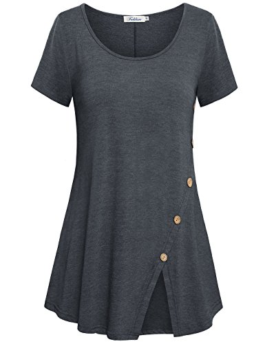 Faddare Tops to Wear with Leggings,Scoop Neck Spring Tunics for Womens Causal Shirts,Deep Grey L ()